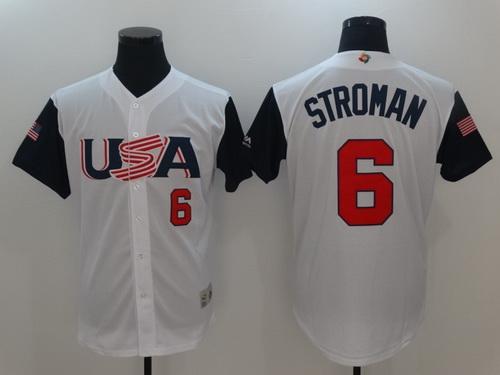 Men's Team USA Baseball Majestic #6 Marcus Stroman White 2017 World Baseball Classic Stitched Authentic Jersey