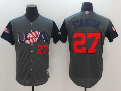 Men's Team USA Baseball Majestic #27 Giancarlo Stanton Gray 2017 World Baseball Classic Stitched Authentic Jersey