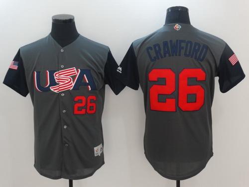 Men's Team USA Baseball Majestic #26 Brandon Crawford Gray 2017 World Baseball Classic Stitched Authentic Jersey