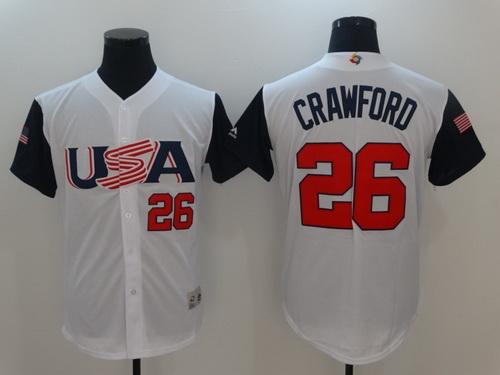 Men's Team USA Baseball Majestic #26 Brandon Crawford White 2017 World Baseball Classic Stitched Authentic Jersey