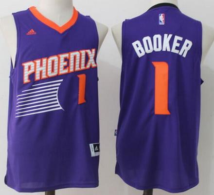Men's Phoenix Suns #1 Devin Booker Purple Stitched NBA adidas Revolution 30 Swingman Jersey