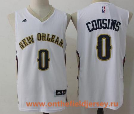 Men's New Orleans Pelicans #0 DeMarcus Cousins White Stitched NBA adidas Revolution 30 Swingman Jersey