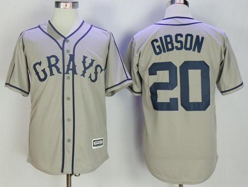 Men's The Movie USA Negro Leagues NLBM Homestead Grays #20 Josh Gibson Gray Stitched Baseball Jersey