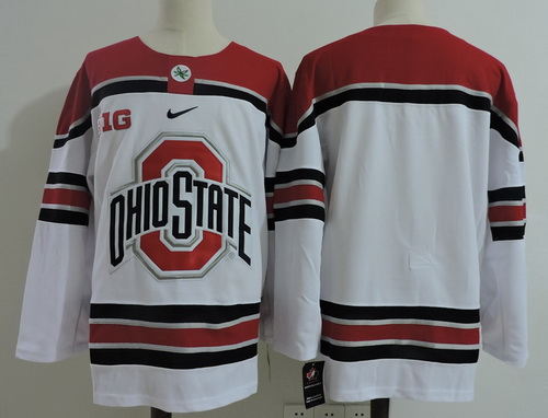 Men's Ohio State Buckeyes Custom Any Number Any Name White College Hockey Stitched Nike NCAA Jersey