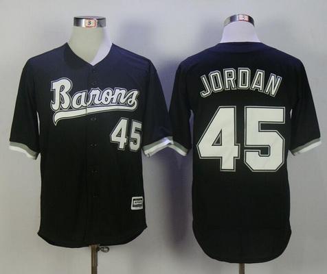 Men's Chicago White Sox Birmingham Barons #45 Michael Jordan Black Stitched Majestic Baseball Jersey