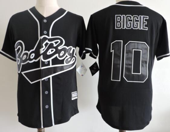 Men's The Movie Bad Boy #10 Biggie Black Baseball Film Jersey Stiched Buttons Short Sleeve Jersey
