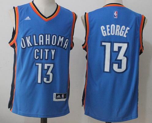 Men's Oklahoma City Thunder #13 Paul George Royal Blue Stitched NBA Adidas Revolution 30 Swingman Jersey