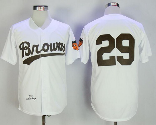 Men's St. Louis Browns #29 Satchel Paige White Home 1953 Throwback Stitched MLB Mitchell & Ness Jersey