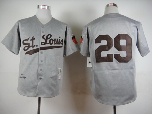 Men's St. Louis Browns #29 Satchel Paige Gray Road 1953 Throwback Stitched MLB Mitchell & Ness Jersey