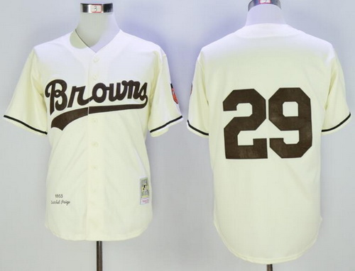 Men's St. Louis Browns #29 Satchel Paige Cream 1953 Throwback Stitched MLB Mitchell & Ness Jersey