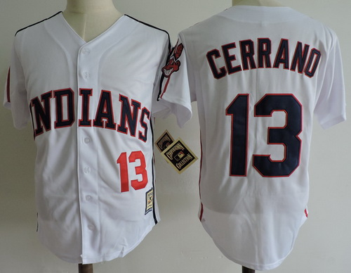 Men's The Movie Major League Cleveland Indians #13 Pedro Cerrano White Collection Stitched Baseball Jersey