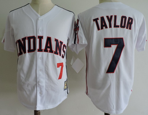 Men's The Movie Major League Cleveland Indians #7 Jake Taylor White Collection Stitched Baseball Jersey