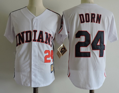 Men's The Movie Major League Cleveland Indians #24 Roger Dorn White Collection Stitched Baseball Jersey