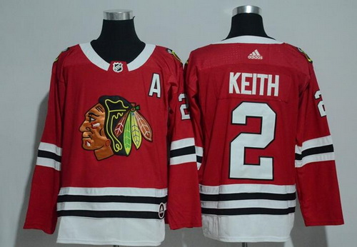 Men's Chicago Blackhawks #2 Duncan Keith Red Home 2017-2018 adidas Hockey Stitched NHL Jersey