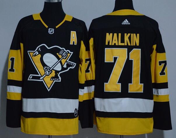 Men's Pittsburgh Penguins #71 Evgeni Malkin Black Home 2017-2018 adidas Hockey Stitched NHL Jersey