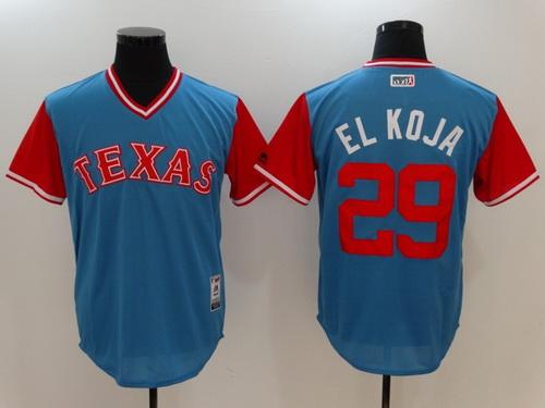 Men's Texas Rangers #29 Adrian Beltre -El Koja- Majestic Light Blue 2017 Little League World Series Players Weekend Stitched Nickname Jersey
