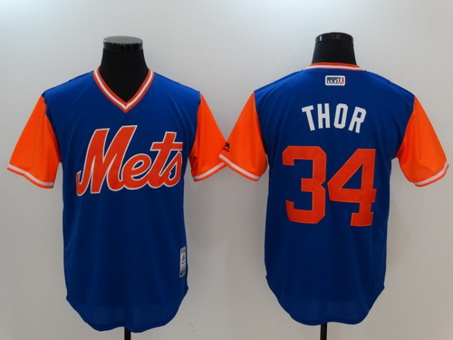 Men's New York Mets #34 Noah Syndergaard -Thor- Majestic Navy 2017 Little League World Series Players Weekend Stitched Nickname Jersey