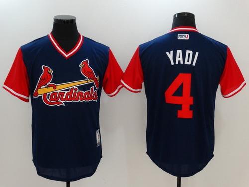 Men's St. Louis Cardinals #4 Yadier Molina -Yadi- Majestic Navy 2017 Little League World Series Players Weekend Stitched Nickname Jersey