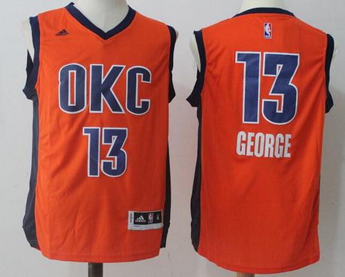 Men's Oklahoma City Thunder #13 Paul George Orange Stitched NBA Adidas Revolution 30 Swingman Jersey