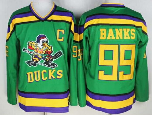 Men's The Movie The Mighty Ducks #99 Adam Banks Green Stitched Film Ice Hockey Jersey