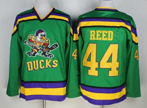Men's The Movie The Mighty Ducks #44 Fulton Reed Green Stitched Film Ice Hockey Jersey