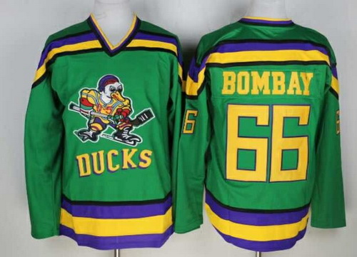 Men's The Movie The Mighty Ducks #66 Gordon Bombay Green Stitched Film Ice Hockey Jersey