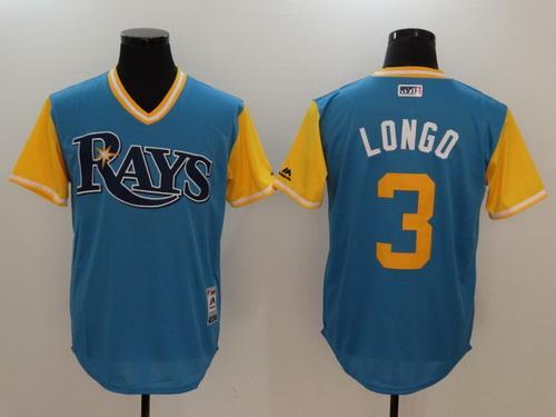 Men's Tampa Bay Rays #3 Evan Longoria -Longo- Majestic Light Blue 2017 Little League World Series Players Weekend Stitched Nickname Jersey