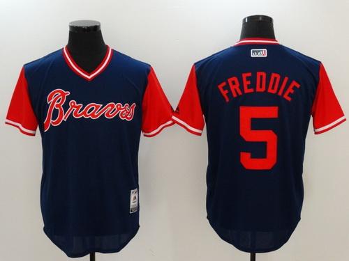 Men's Atlanta Braves #5 Freddie Freeman -Freddie- Majestic Navy 2017 Little League World Series Players Weekend Stitched Nickname Jersey