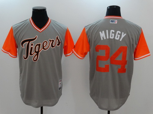 Men's Detroit Tigers #24 Miguel Cabrera -Miggy- Majestic Gray 2017 Little League World Series Players Weekend Stitched Nickname Jersey