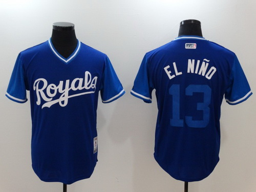 Men's Kansas City Royals #13 Salvador Perez -El Nino- Majestic Royal 2017 Little League World Series Players Weekend Stitched Nickname Jersey