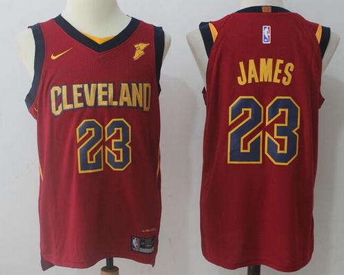 Men's Cleveland Cavaliers #23 LeBron James Burgundy Red 2017-2018 Nike Swingman Goodyear Stitched NBA Jersey