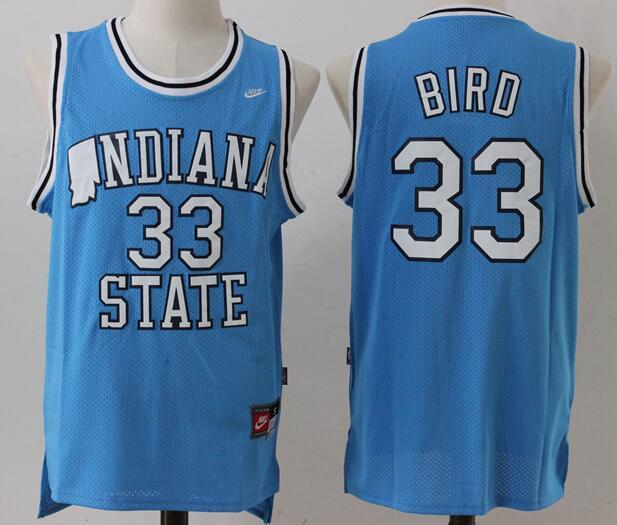 Indiana State Sycamores #33 Larry Bird Light Blue Swingman Jersey
