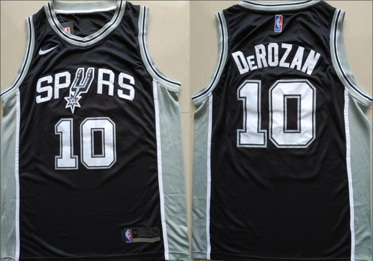 Men's San Antonio Spurs #10 Demar DeRozan Black 2017-2018 Nike Swingman Stitched NBA Jersey