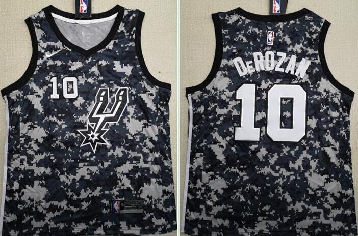 Men's San Antonio Spurs #10 Demar DeRozan Camo 2017-2018 Nike Swingman Stitched NBA Jersey