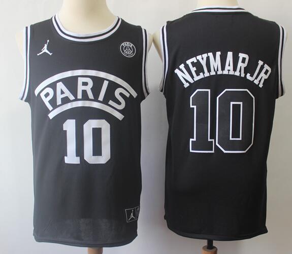 Men's Paris Jordan #10 Neymar Jr Black 2018 Swingman Baseketball Jersey