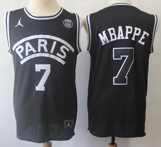 Men's Paris Jordan #7 Mbappe Black 2018 Swingman Baseketball Jersey