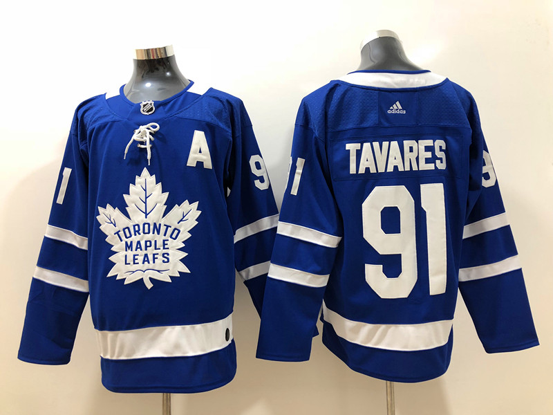 Men's Toronto Maple Leafs #91 John Tavares Royal Blue Home Stitched A Patch adidas NHL Jersey