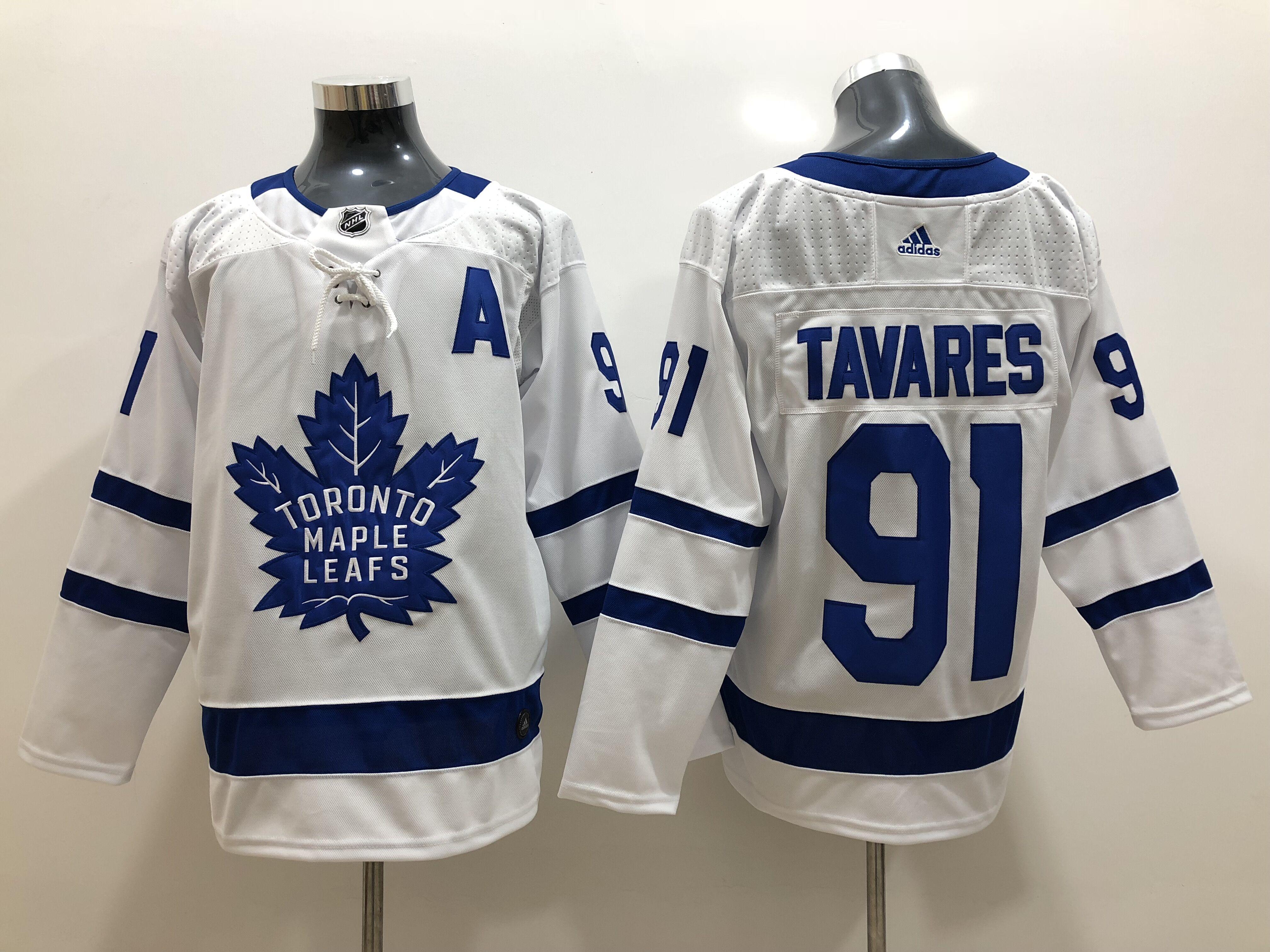Men's Toronto Maple Leafs #91 John Tavares Royal White Away Stitched A Patch adidas NHL Jersey