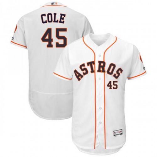 Men's Houston Astros #45 Gerrit Cole White Flex Base Jersey