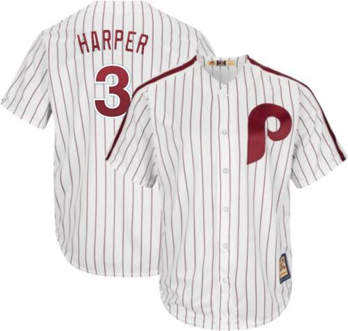 Men's Philadelphia Phillies #3 Bryce Harper Majestic Cool Base White Cooperstown Jersey