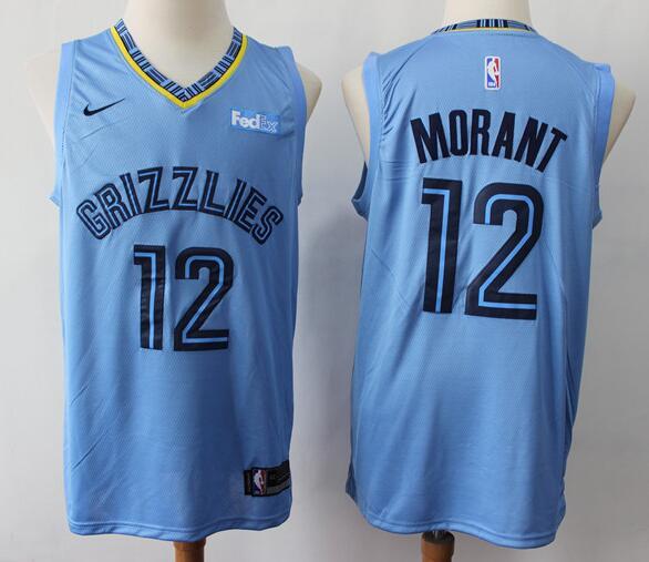 Men's Memphis Grizzlies #12 Ja Morant Light Blue Nike Swingman Stitched NBA Jersey