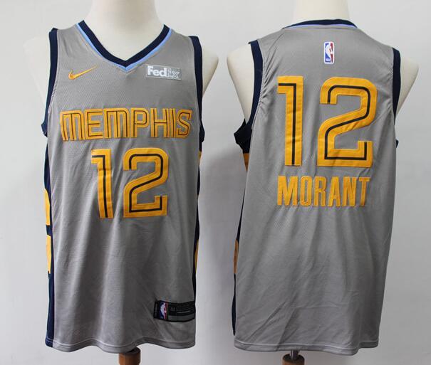 Men's Memphis Grizzlies #12 Ja Morant Gray City Edition Nike Swingman Stitched NBA Jersey