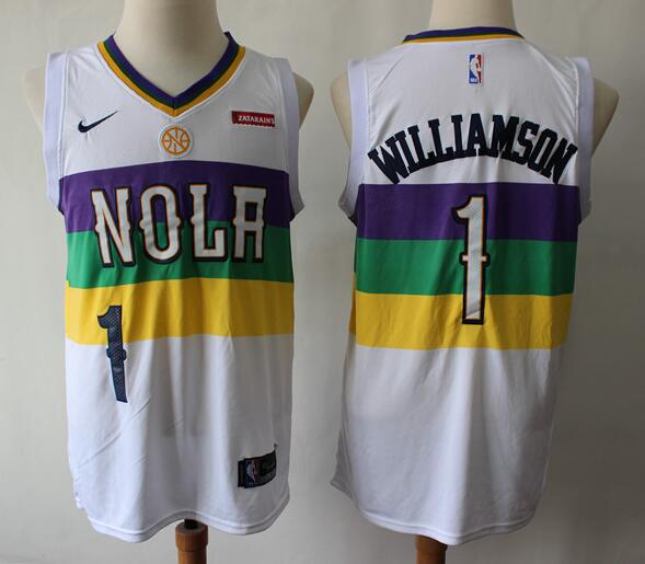 Men's New Orleans Pelicans #1 Zion Williamson White City Edition Nike Swingman Stitched NBA Jersey