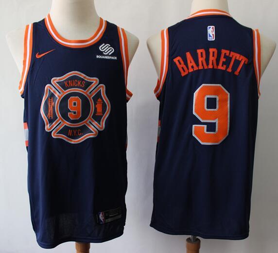 Men's New York Knicks #9 RJ Barrett Navy Blue 2018 City Edition Nike Swingman Stitched NBA Jersey