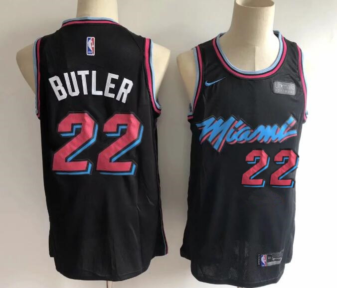 Men's Miami Heat #22 Jimmy Butler Black with Pink City Edition Nike Swingman Stitched NBA Jersey