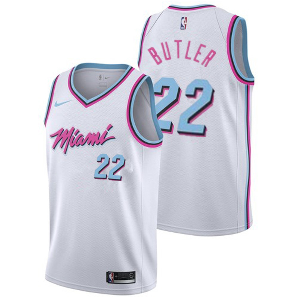 Men's Miami Heat #22 Jimmy Butler White with Pink City Edition Nike Swingman Stitched NBA Jersey