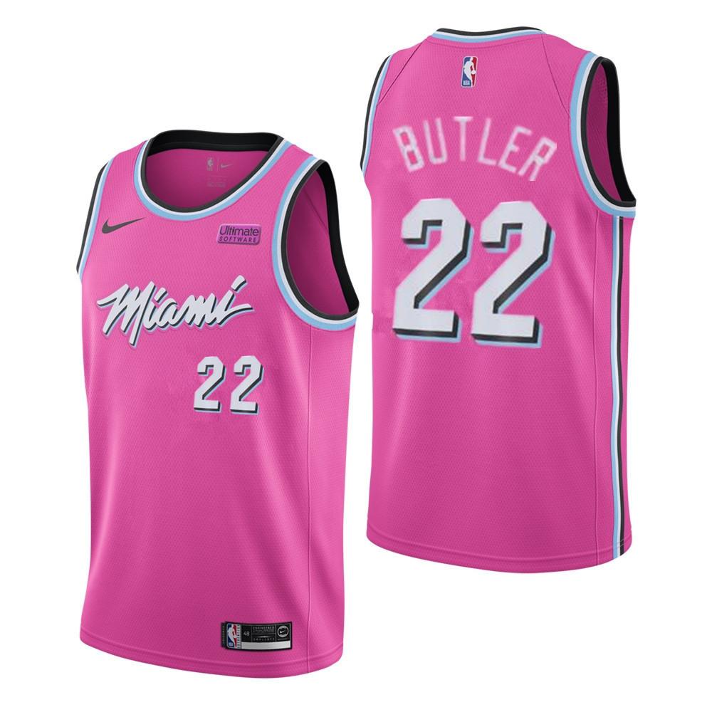 Men's Miami Heat #22 Jimmy Butler Pink City Edition Nike Swingman Stitched NBA Jersey