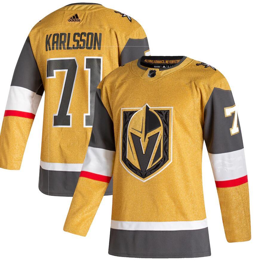 Men's Vegas Golden Knights #71 William Karlsson Gold 2020-21 Alternate Third Adidas Jersey