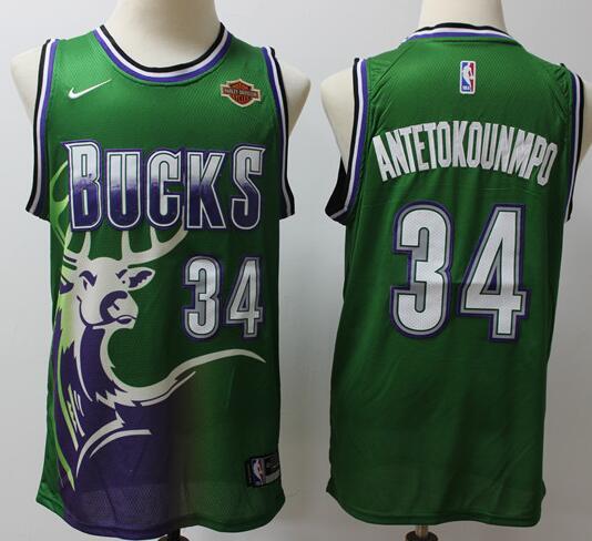Men's Milwaukee Bucks #34 Giannis Antetokounmpo Green 2019 Nike Swingman with Icon Patch Stitched NBA Jersey