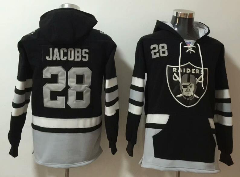 Men's Las Vegas Raiders #28 Josh Jacobs  #28 NEW Black Pocket Stitched NFL Pullover Hoodie